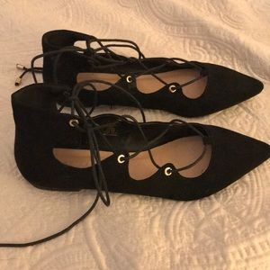 Metaphor Shoes - Black Suede-like criss-cross lace flats